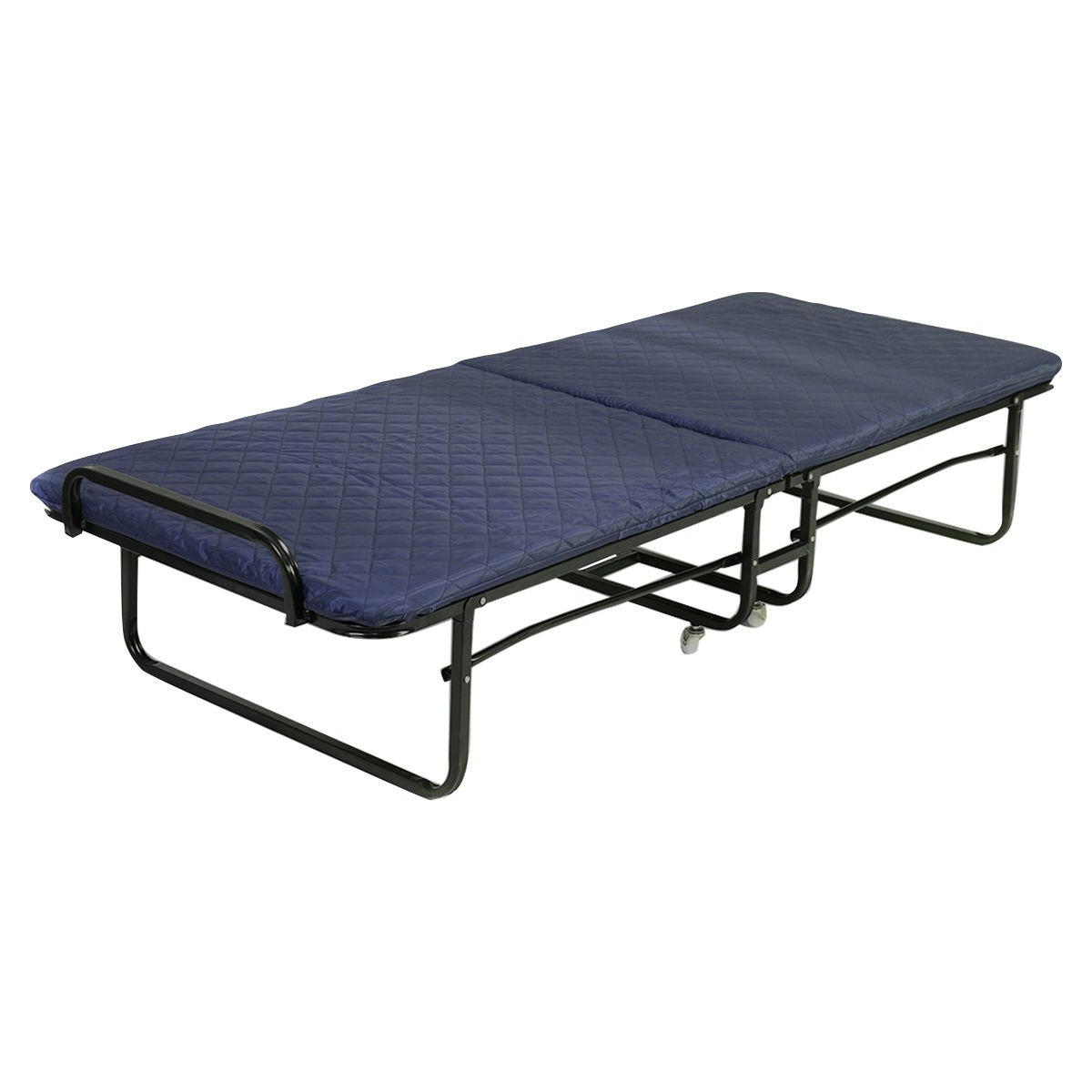 Folding bed foam mattress twin roll away guest portable sleeper dark blue ebay Bed with mattress