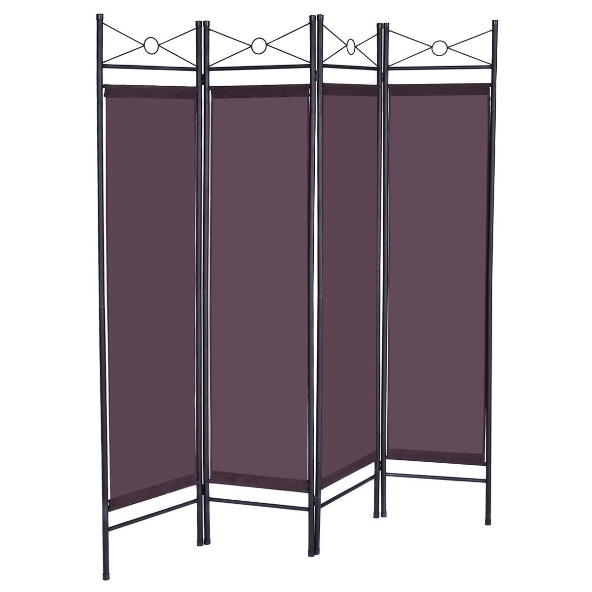 4 panel room divider privacy folding screen home office fabric metal frame brown ebay - Collapsible room divider ...