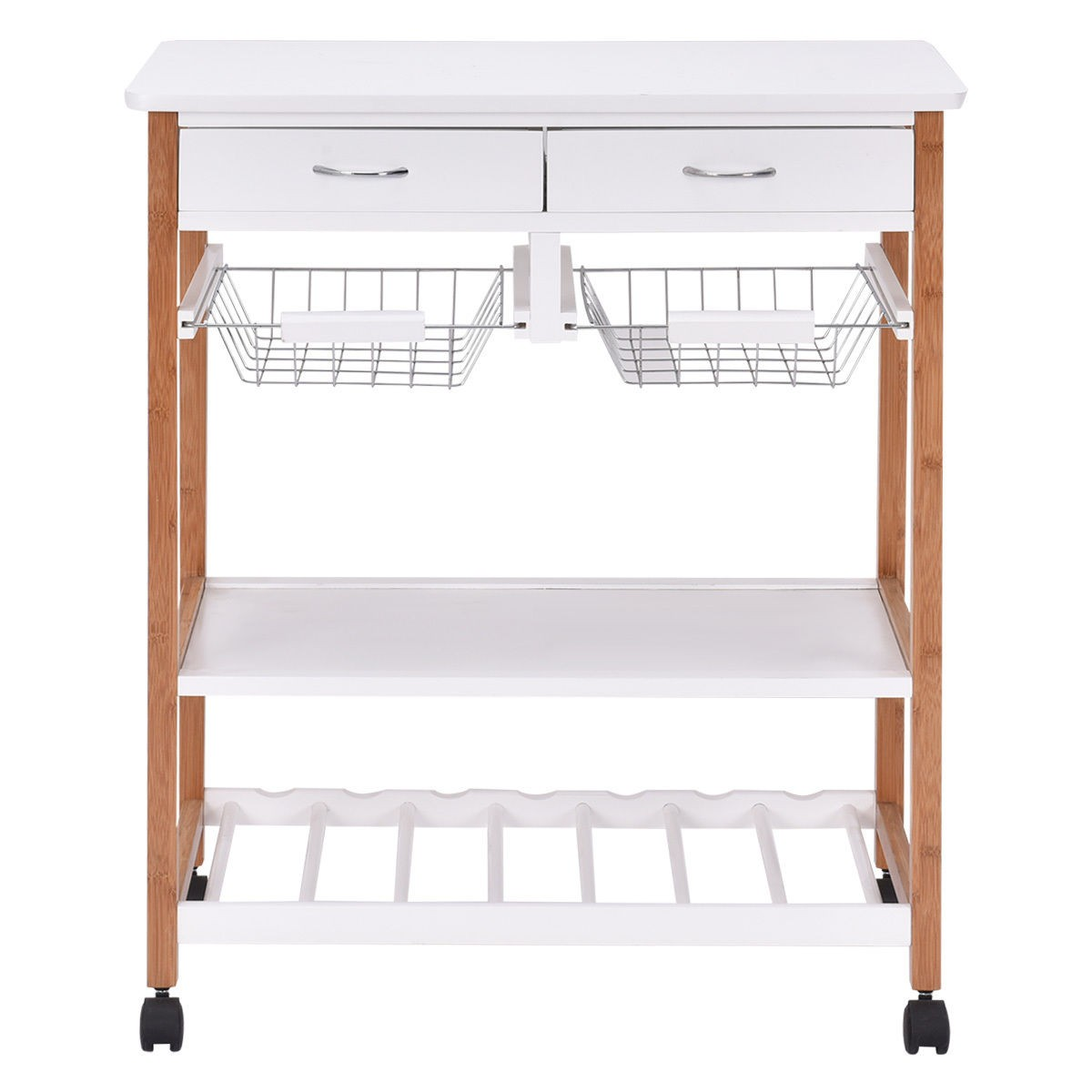 Portable Kitchen Rolling Cart Island Storage Wine Rack: Rolling Wood Kitchen Trolley Cart Island Storage Basket