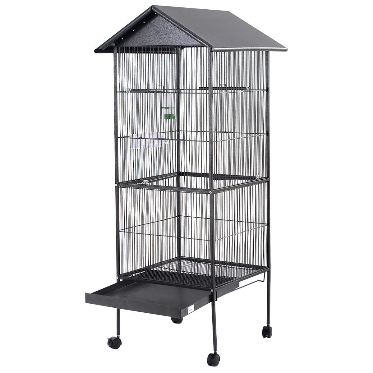 parrot canary pet bird cage black cockatiel parakeet finch crate feeder perch ebay. Black Bedroom Furniture Sets. Home Design Ideas