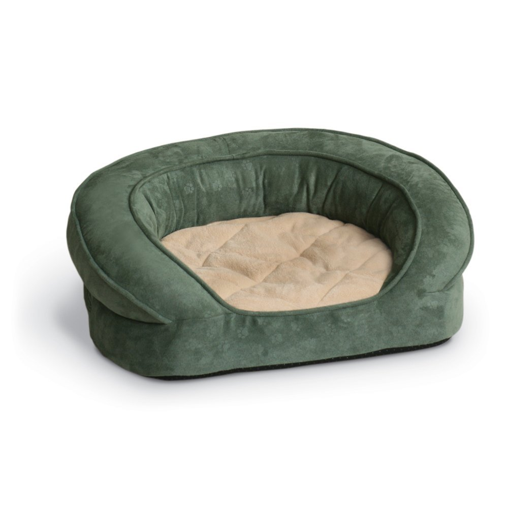 k h deluxe round ortho bolster sleeper large green paw print dog bed ebay. Black Bedroom Furniture Sets. Home Design Ideas
