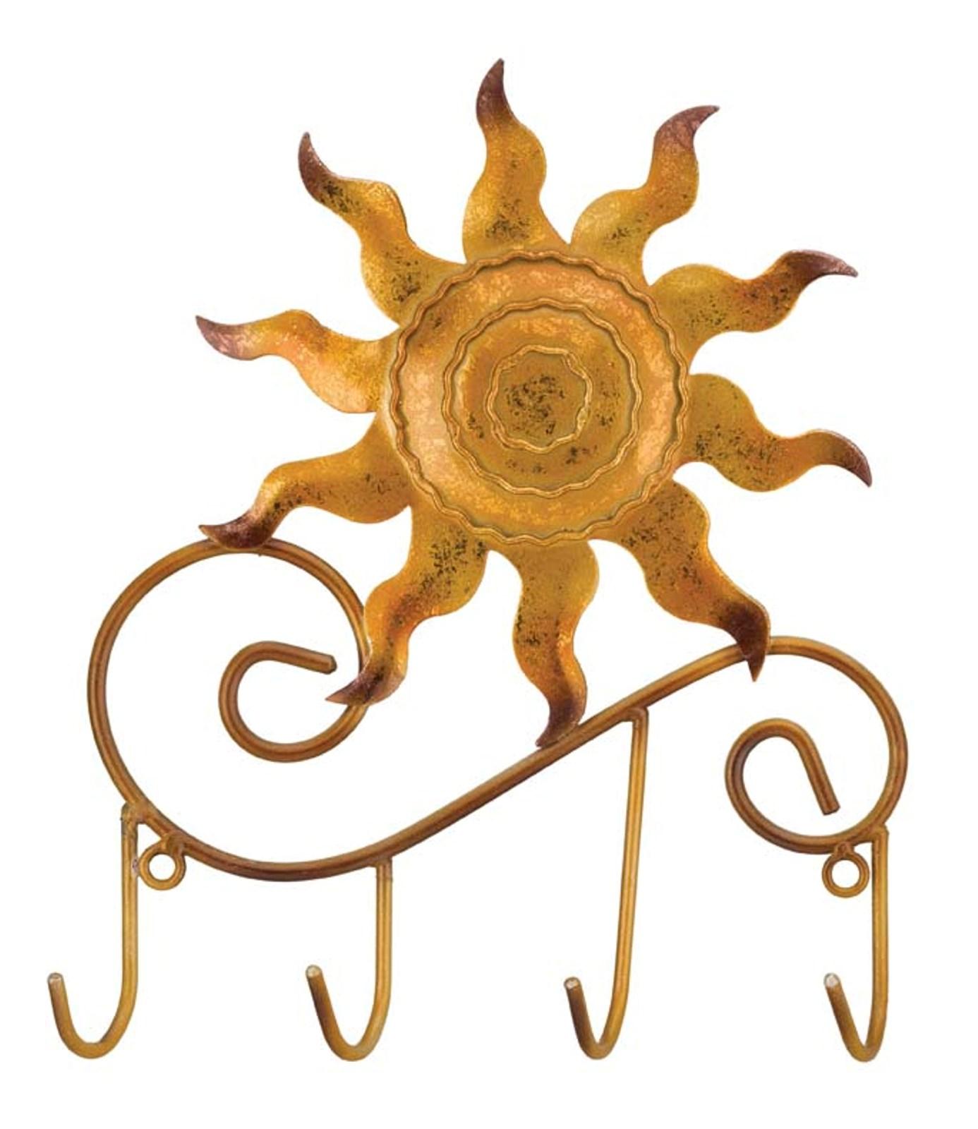 Yellow Sun Wall Decor : Coppery yellow sun metal key quad wall hooks decor regal