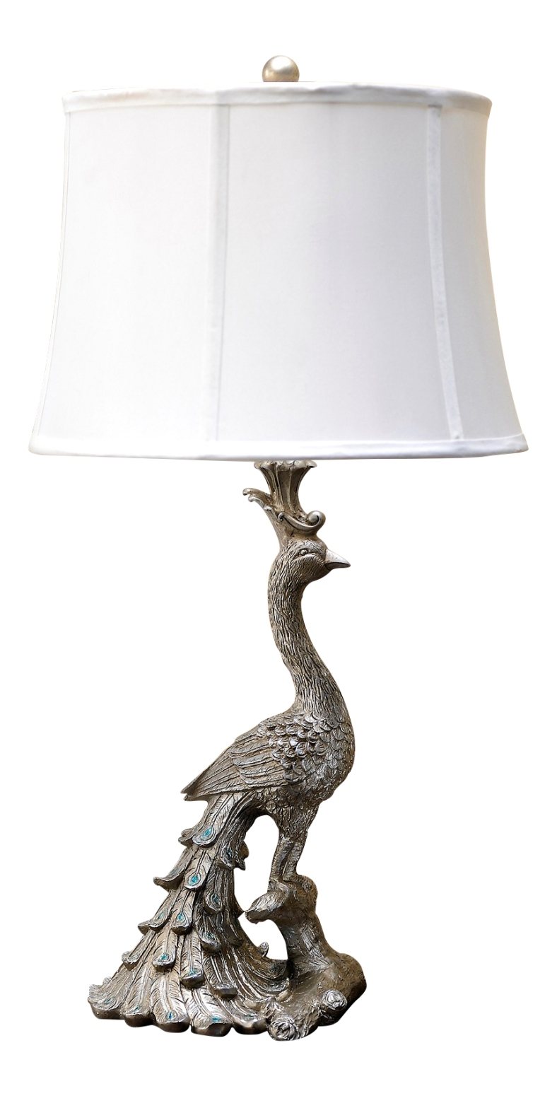 Silver peacock bird with teal feathers 28 inch table lamp for 100 watt table lamps