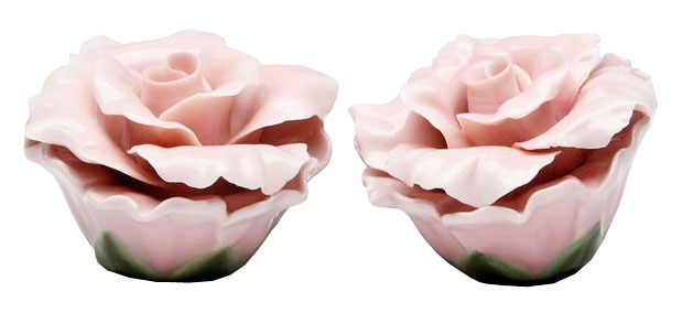 Beautiful Pink Rose Flower Salt And Pepper Shaker Ebay