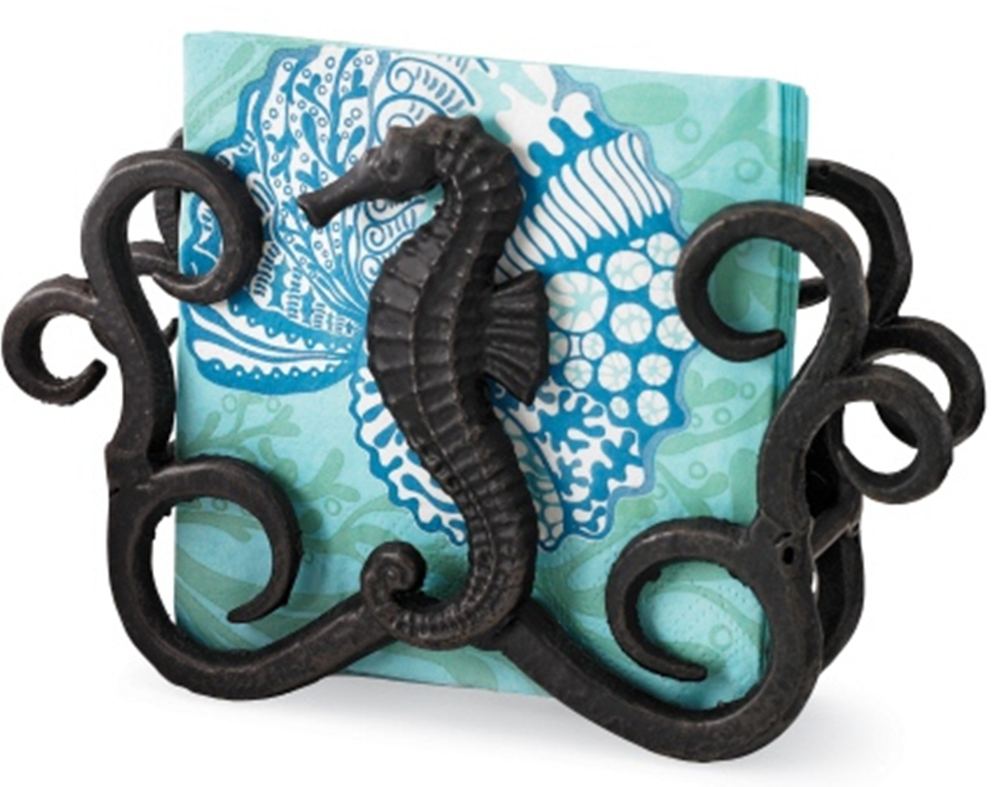 Seahorse Forged Metal Cocktail Napkin Holder with Paper Napkins Mud Pie