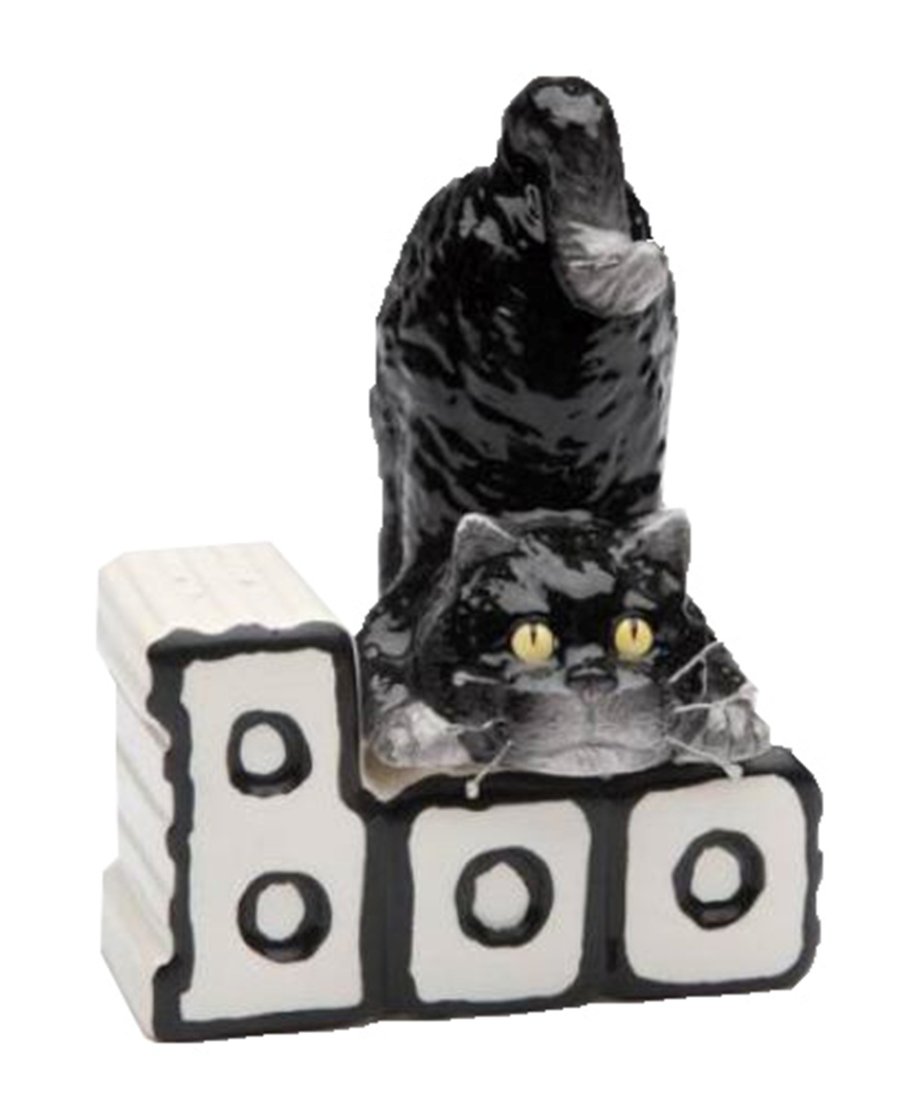 Happy Halloween Black Cat and Boo Letters Magnetic Salt & Pepper Shaker Set
