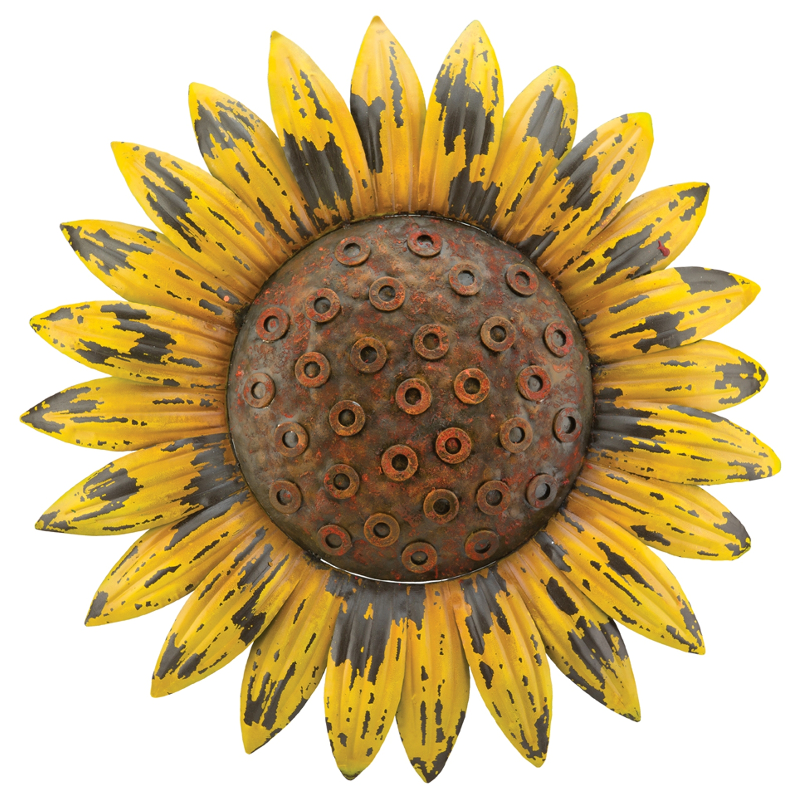 Yellow Flowers Wall Decor : Sunflower giant rustic yellow flower inch metal wall
