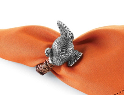 Thanksgiving turkey shaped cast metal and rattan napkin for Napkin rings for thanksgiving