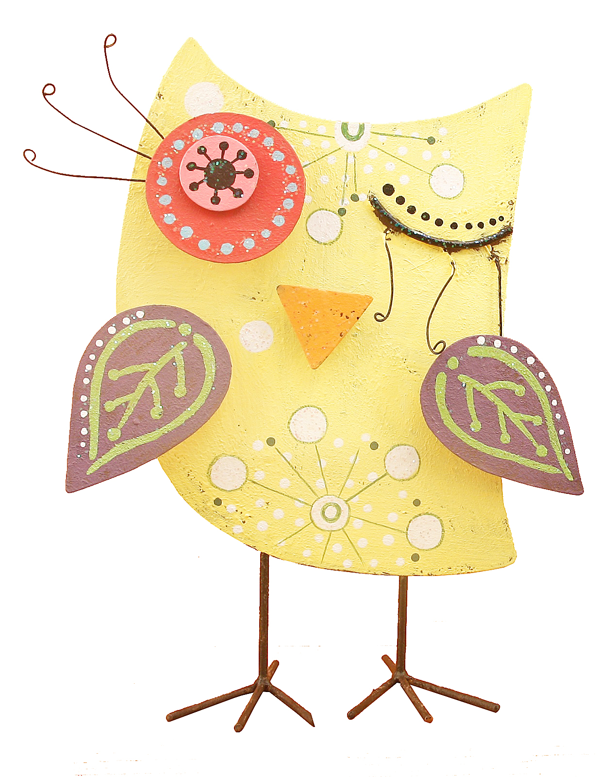 Whimsical owl wink 12 inch table top metal figurine accent for Whimsical decor