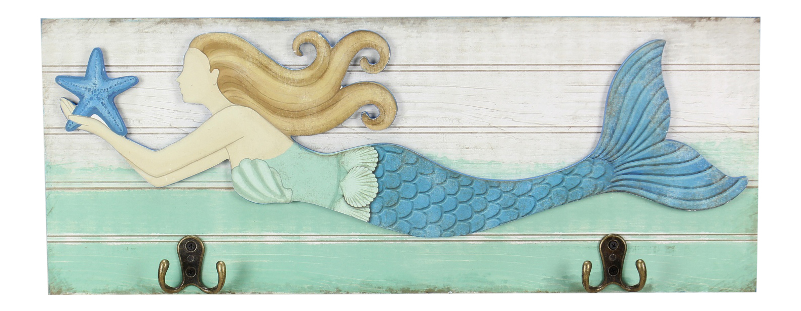 Mermaid Swimming With Starfish Wood Plaque With Hooks Wall