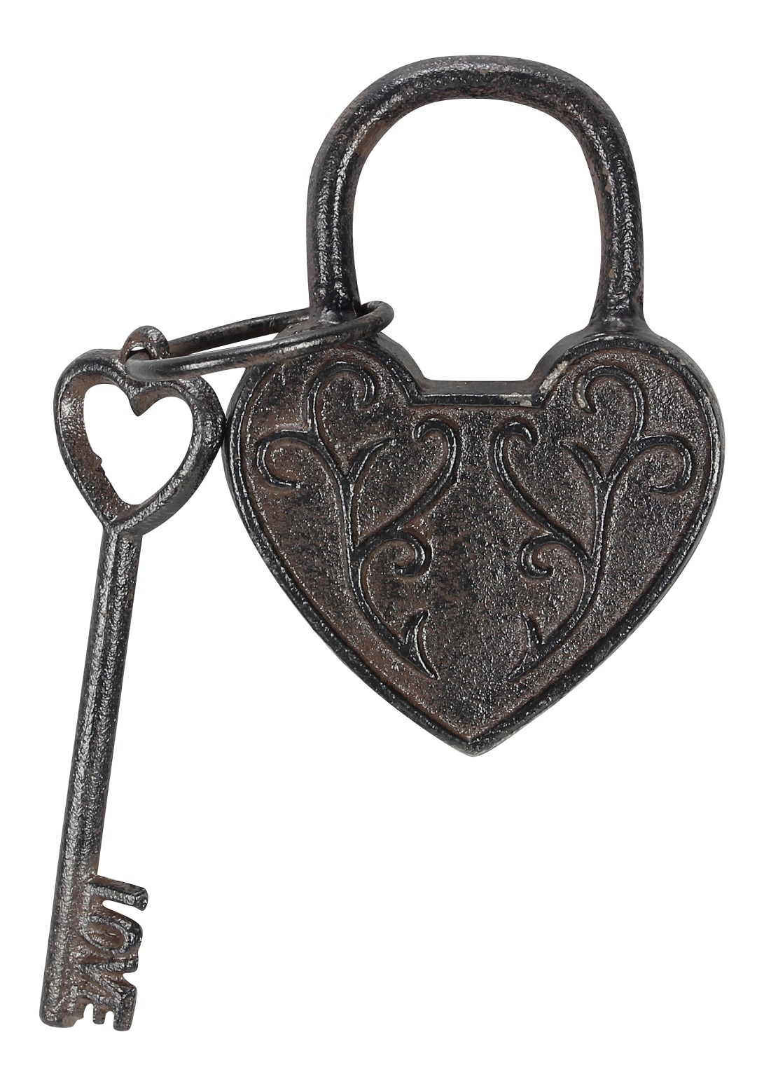 Heart shaped cast iron lock with love key tabletop decor