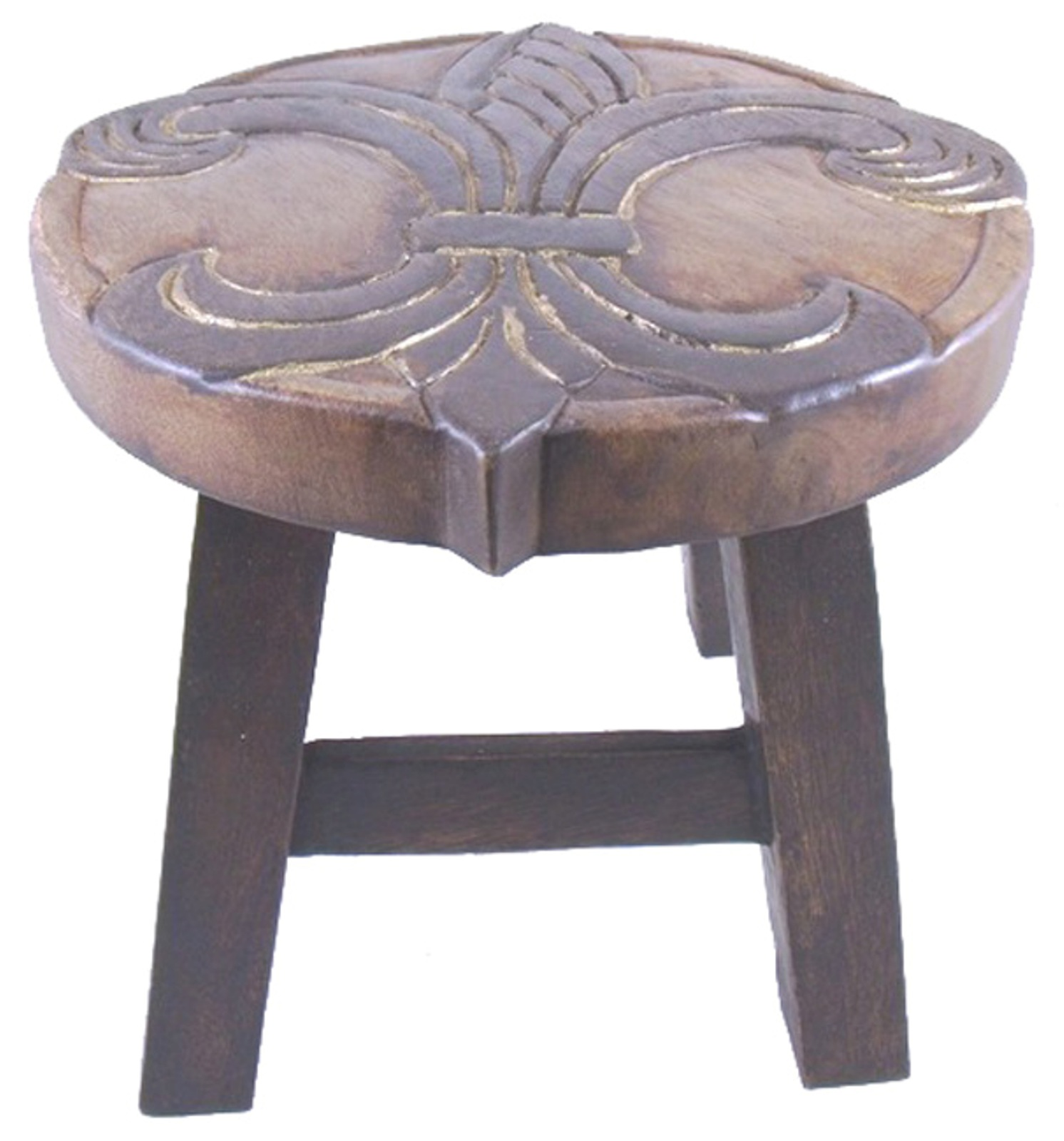 Details about Elegant Fleur de Lis Carved Wooden Child Step Stool