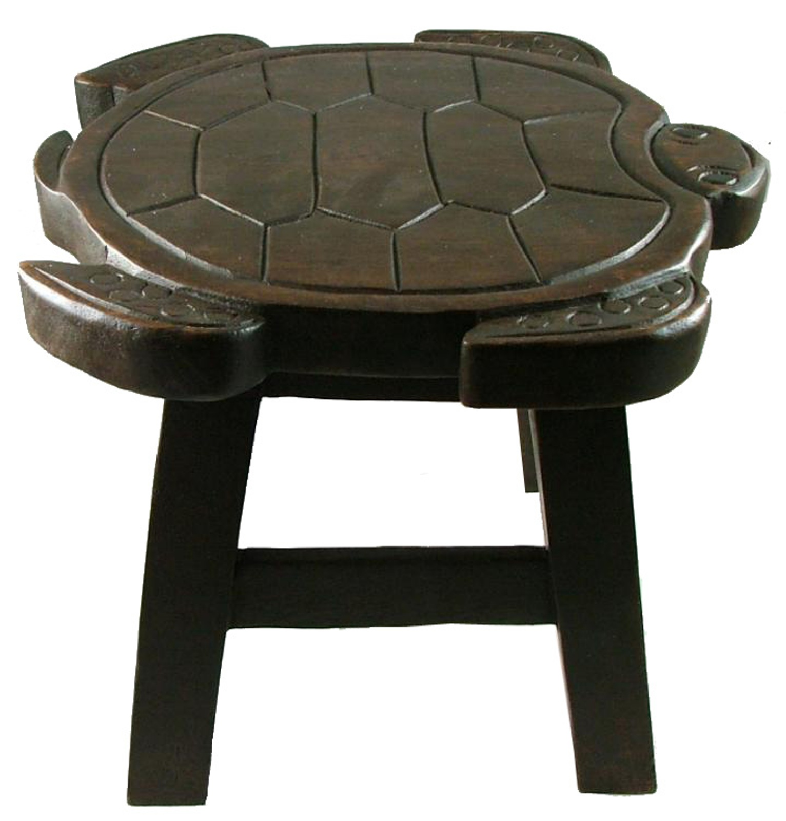 Tropical Sea Turtle Child Bath Carved Wooden Step Stool Dark Brown