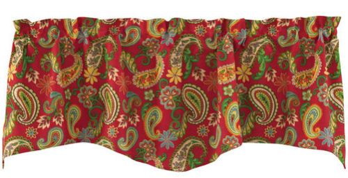Split P Vermillion Paisley Print 58 x 18 Lined Wave Edge Window Valance Split P at Sears.com