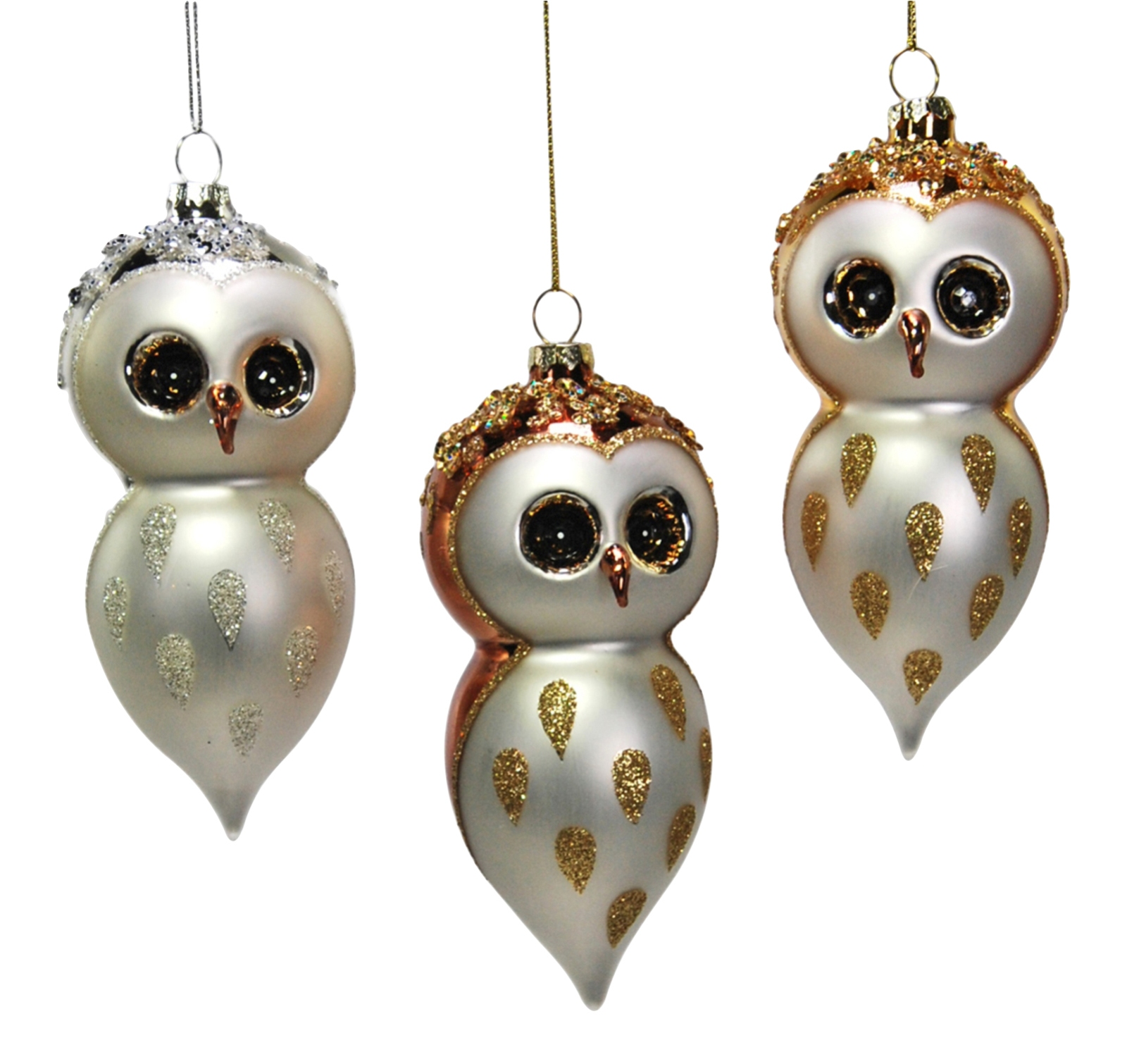 White gold owls finial holiday glass ornaments set of