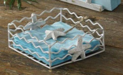 Coastal white starfish metal wire beverage napkin holder - Coastal napkin holder ...