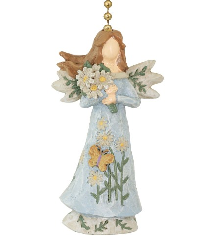 Clementine Precious Blue Floral Angel Resin Ceiling Fan Pull or Light Pull Chain Clementine