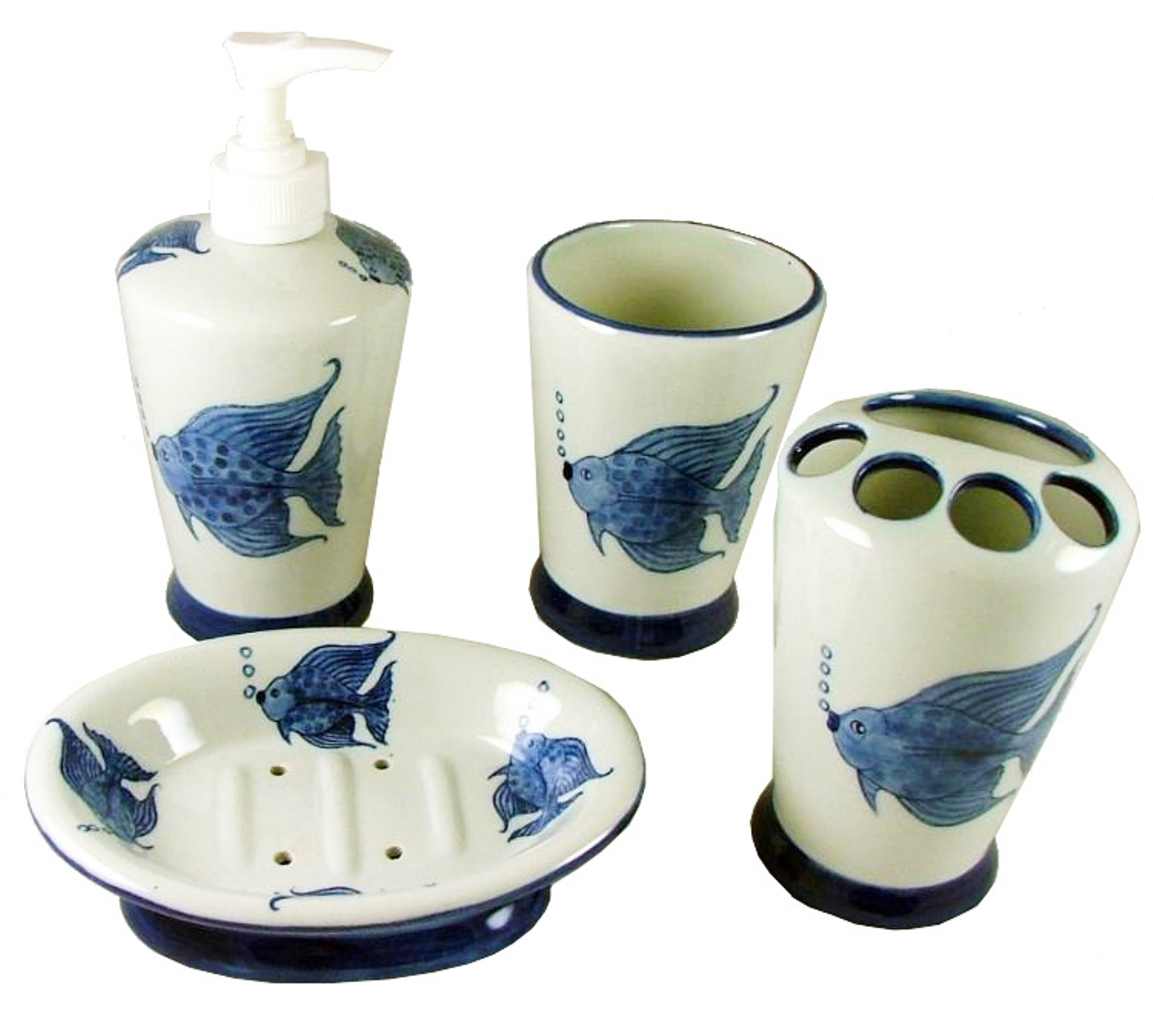 Details About Tropical Fish Vanity Bathroom Accessory Set