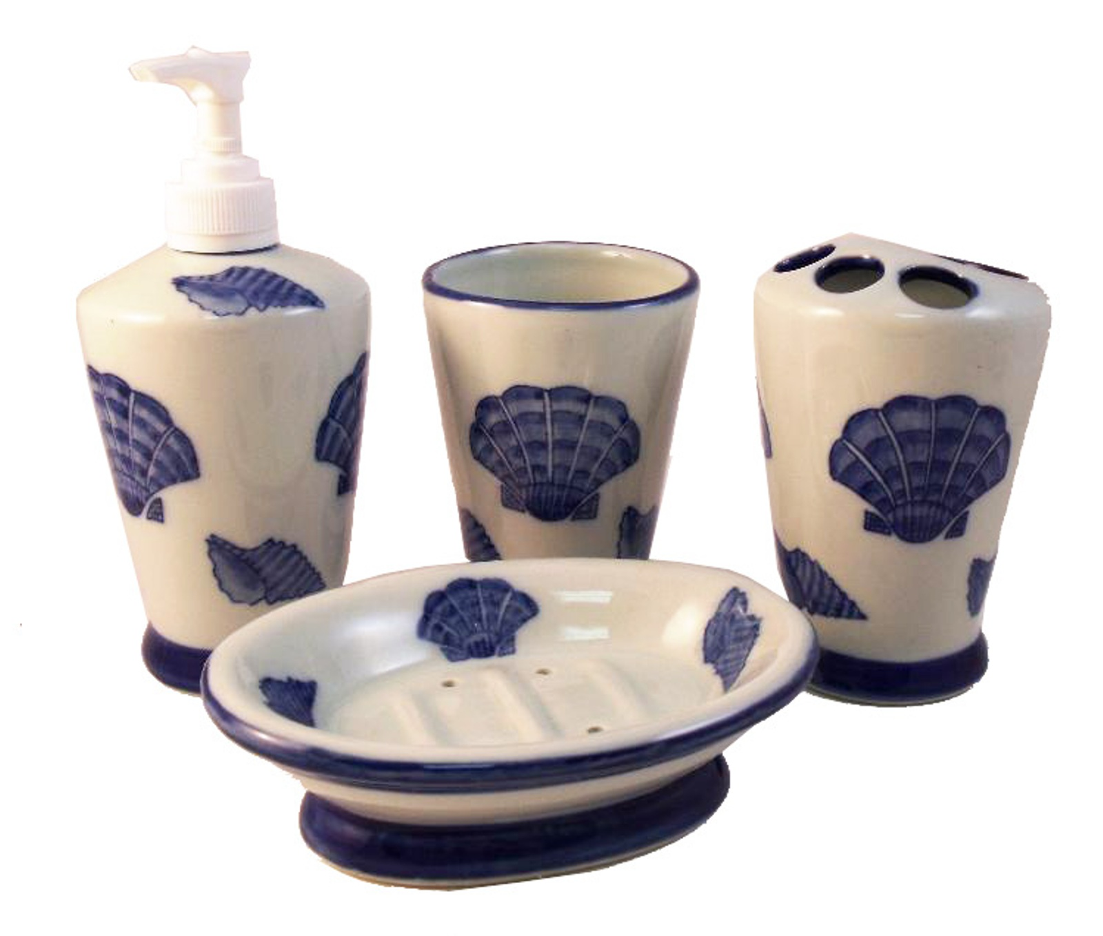 Tropical ocean sea shell vanity bathroom accessory set ebay for Seashell bathroom accessories