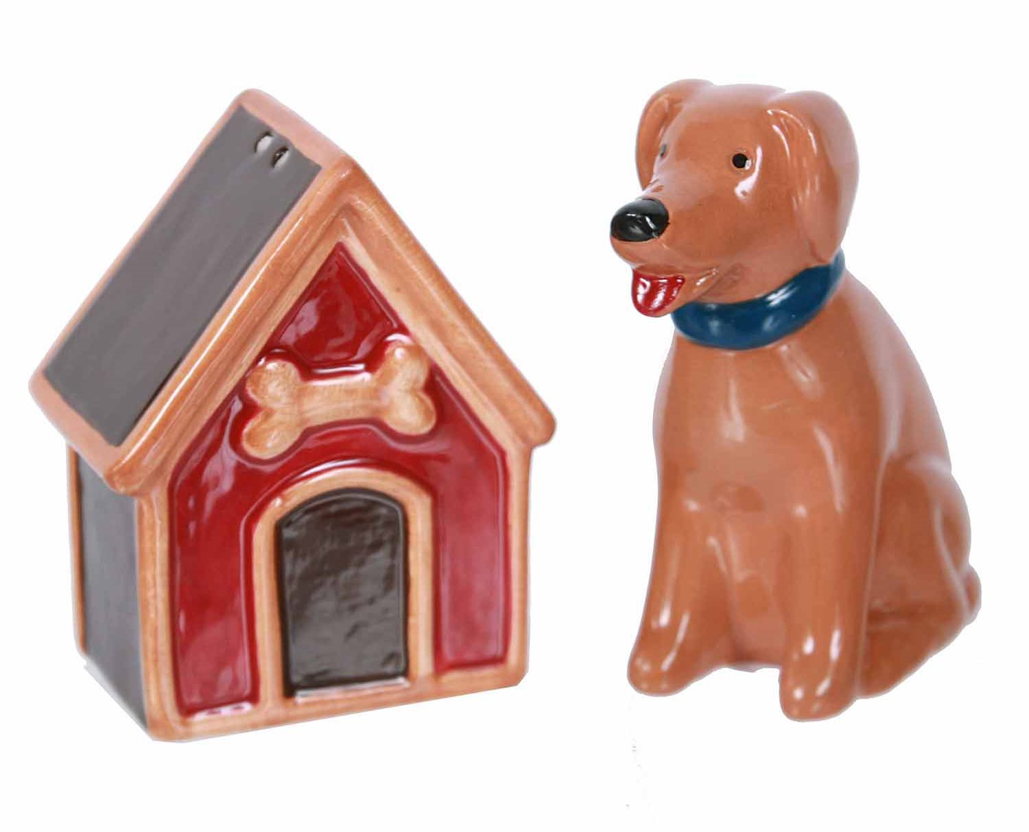 Little Brown Dog With His Dog House Salt And Pepper