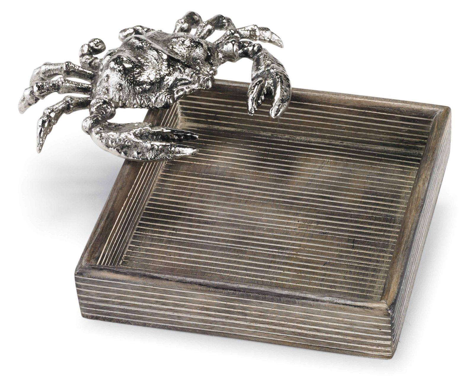 Coastal crab icon napkin holder mango 9 5 inch wood mud - Coastal napkin holder ...