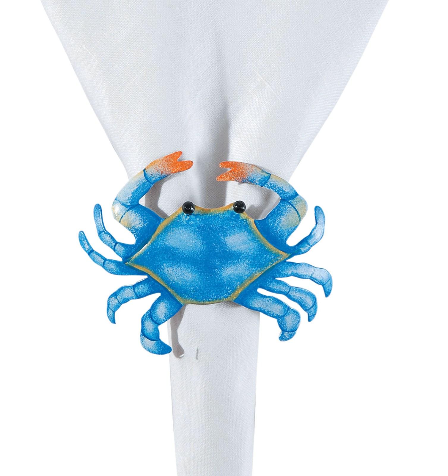 Coastal Maryland Blue Crabs Shaped Napkin Rings Set of 4