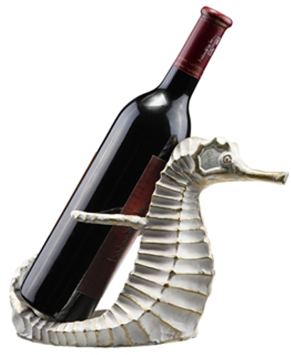 Coastal White Seahorse Cast Iron Wine Bottle Holder