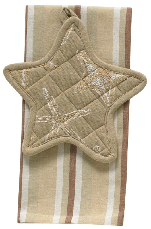 Tropical Island Starfish Potholder Dishtowel Towel Set