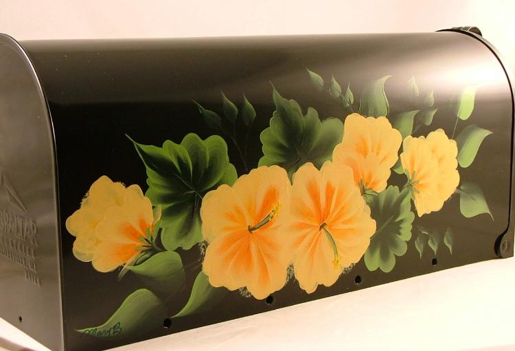 Hand Painted Tropical Hibiscus Flower Mailbox Mail Box Ebay