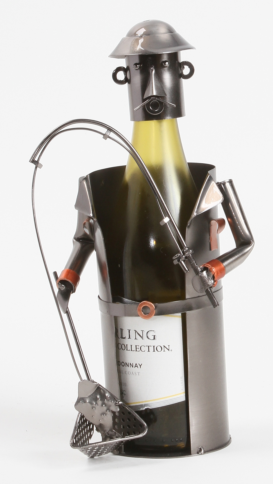 Fisherman rod and reel fish on big catch shaped metal wine for The fishing caddy