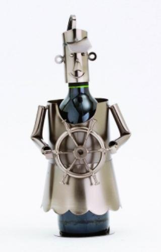 Ahoy! Lady Female Captain of Ship Decorative Wine Bottle Holder Caddy