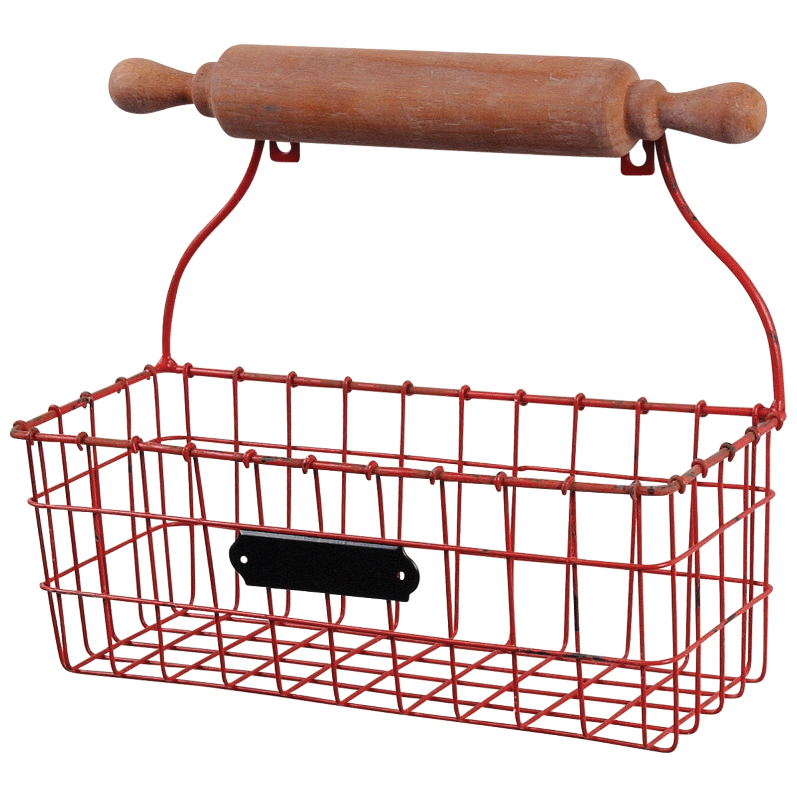 Details About Baker 39 S Rolling Pin Red Wire Basket Kitchen Wall Storage
