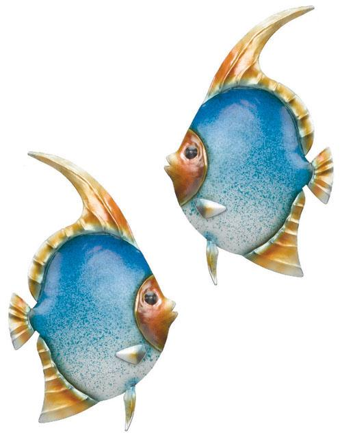Coastal tropical angel fish metal wall decor art set 2 ebay for Fish metal wall art
