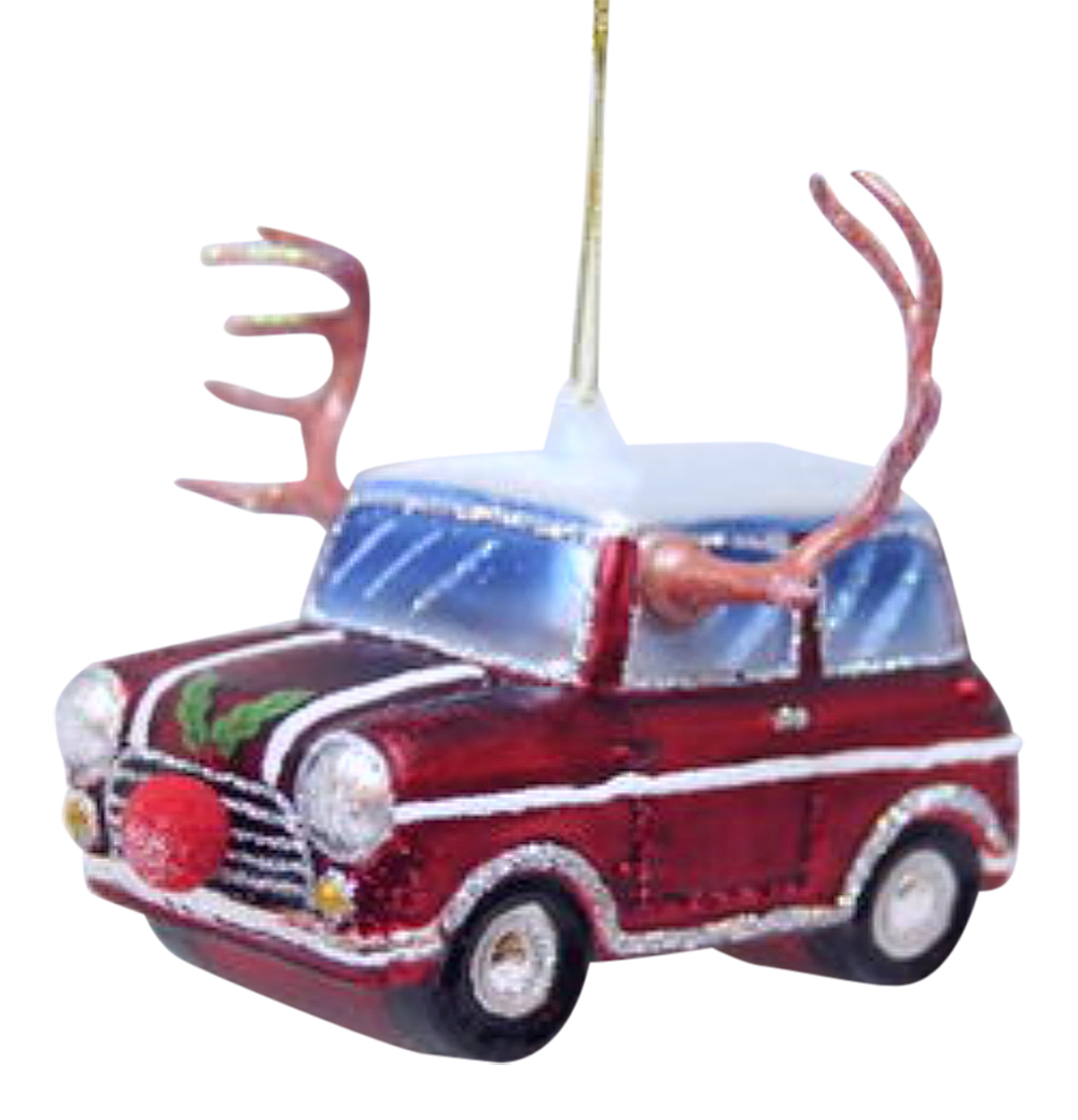 Car with Reindeer Antlers and Red Nose Glass Christmas ...