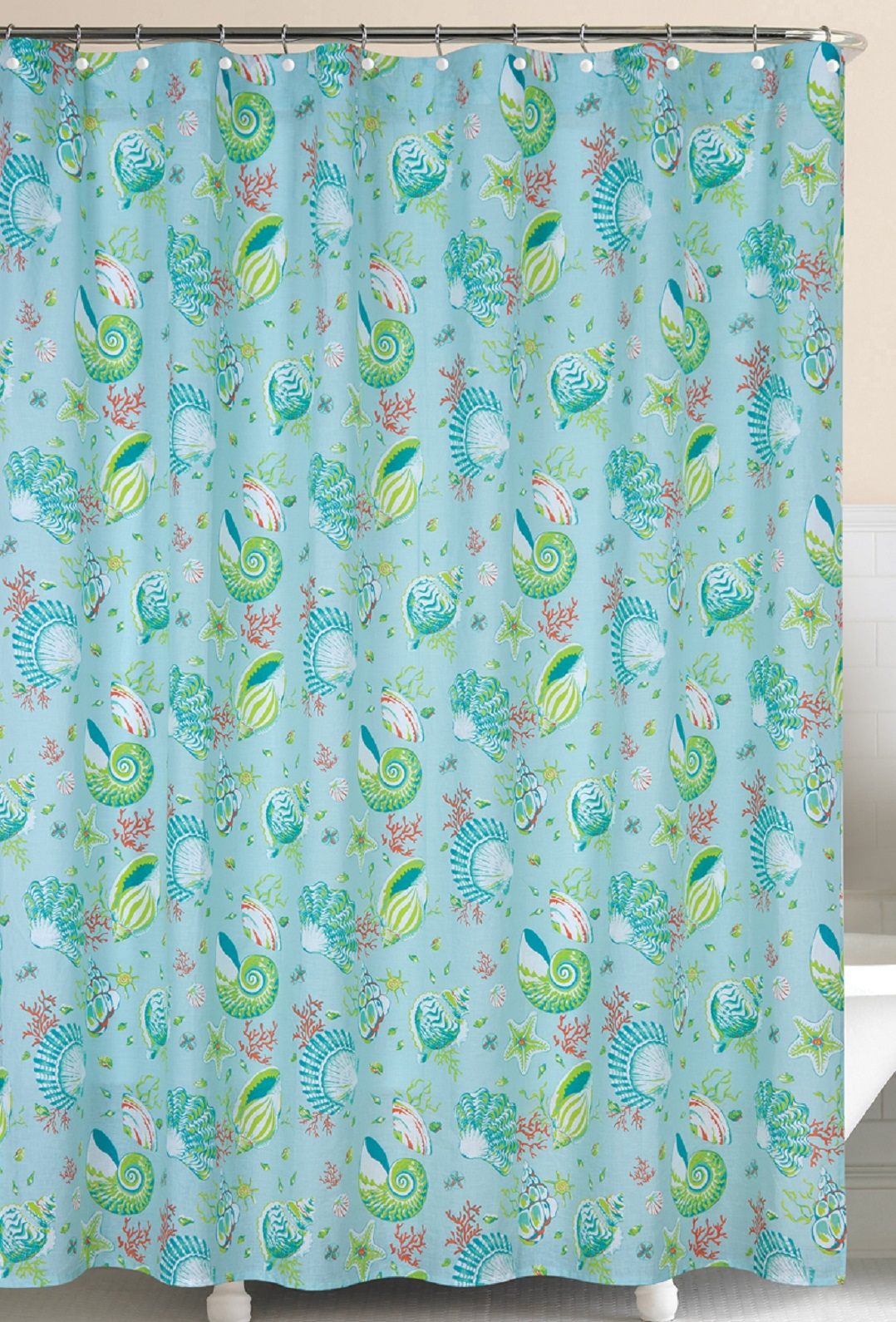 Laguna Breeze Shells And Coral Blue And Green Cotton Shower Curtain EBay