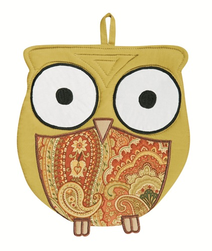 Paisley Print Wise Hoot Owl Oven Mitt Kitchen Pot Holder Combo