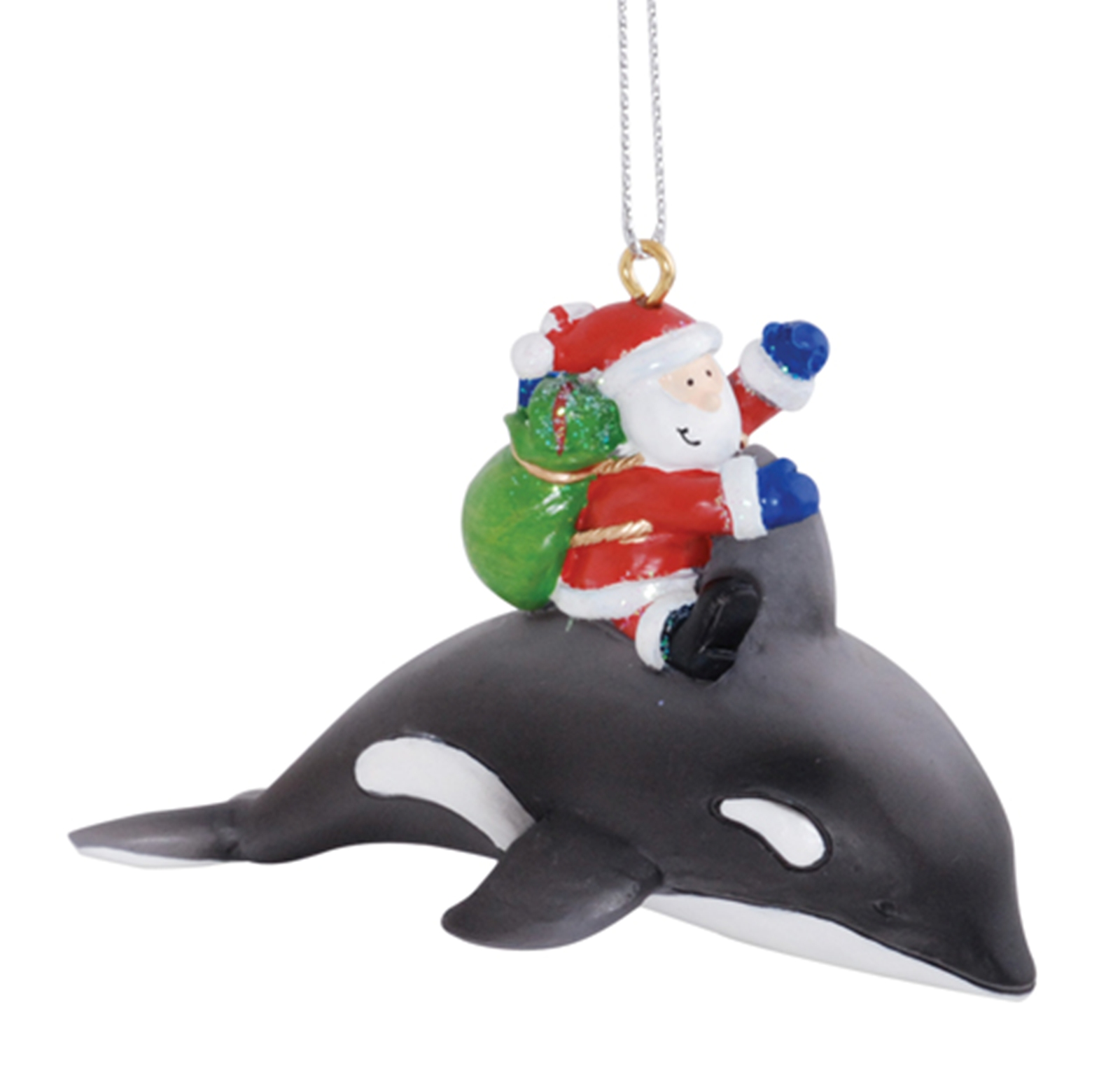 Santa claus riding orca whale delivering gifts christmas for Holiday christmas ornaments