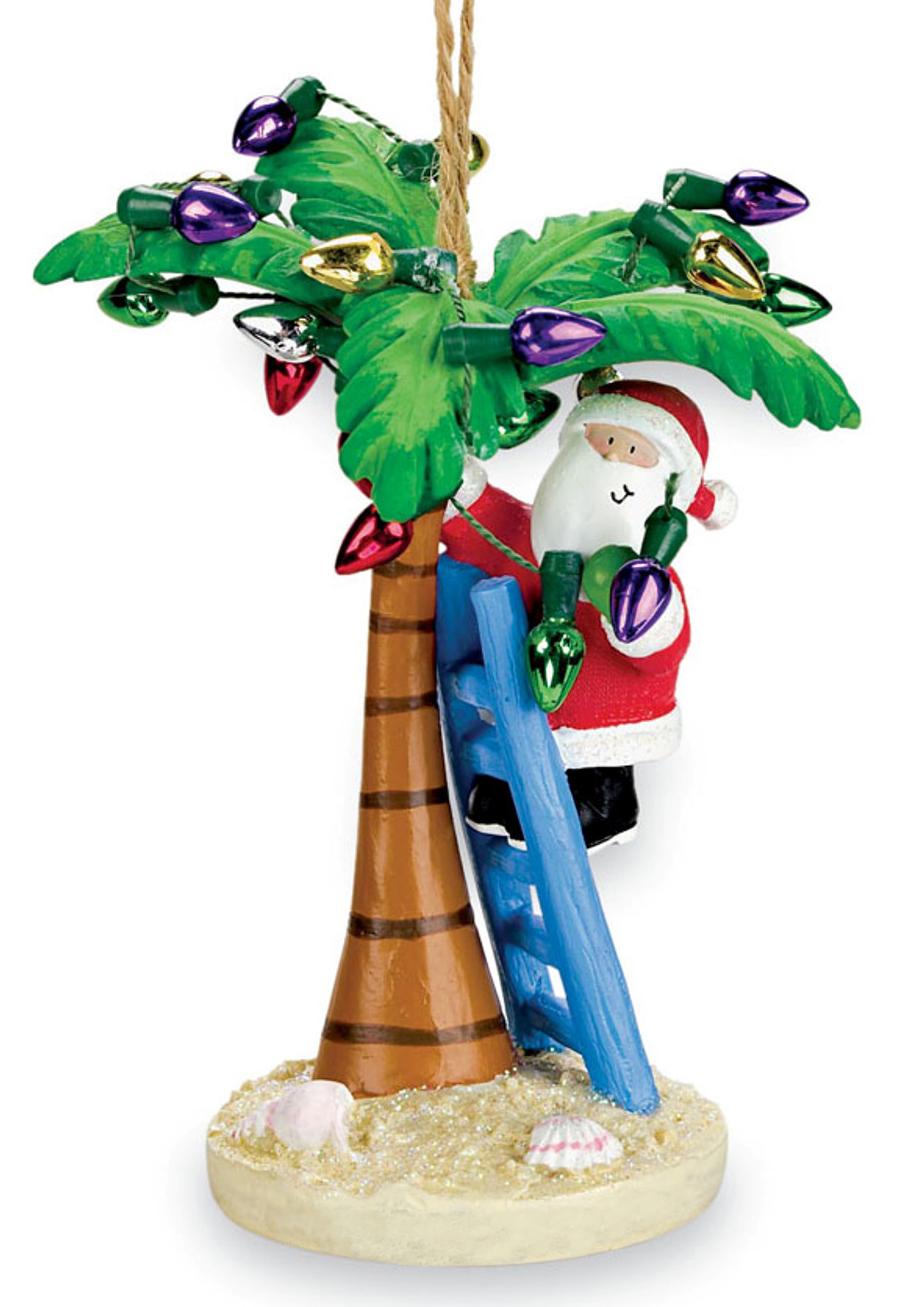 Coastal Santa Decorating Tropical Island Palm Tree