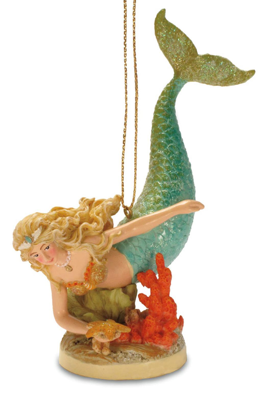 Tropical beach mermaid island christmas tree ornament for Christmas tree photo ornaments