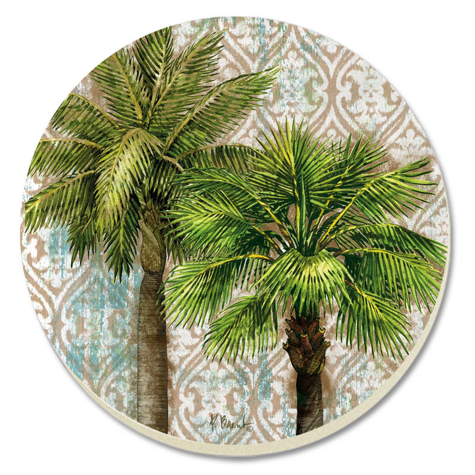 Aqua escape palm trees 4 inch round absorbent stone coasters set of 4 ebay - Stone absorbent coasters ...