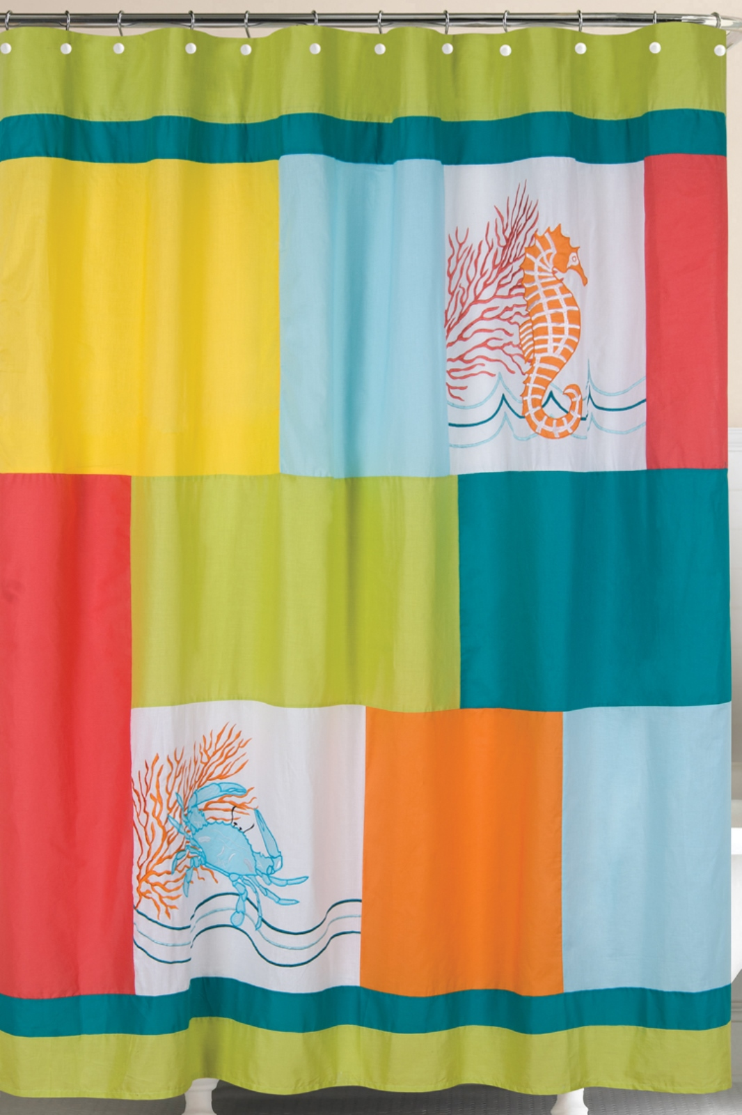 Tropic Escape Seahorse Blue Crab Coral 72 X 72 Inch Bath Shower Curtain EBay