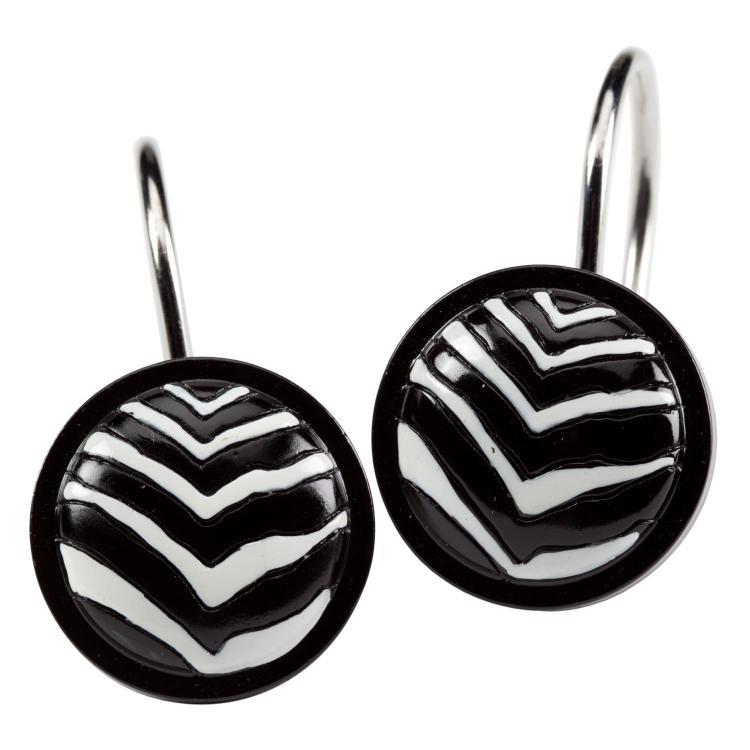 Zebra Pattern Black White Bathroom Shower Curtain Hooks Ebay