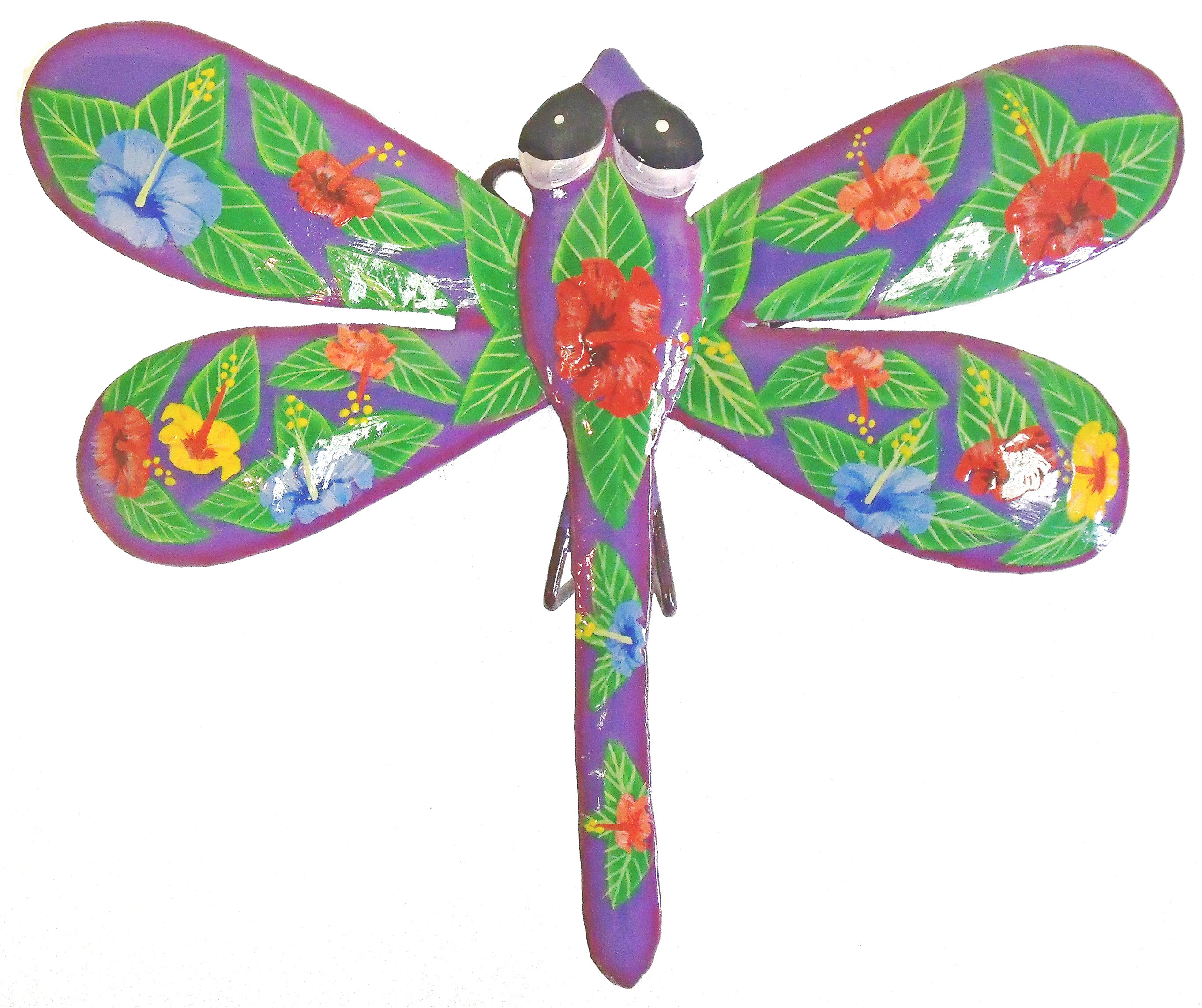 Purple dragonfly hibiscus haitian metal art wall decor ebay for Dragonfly mural