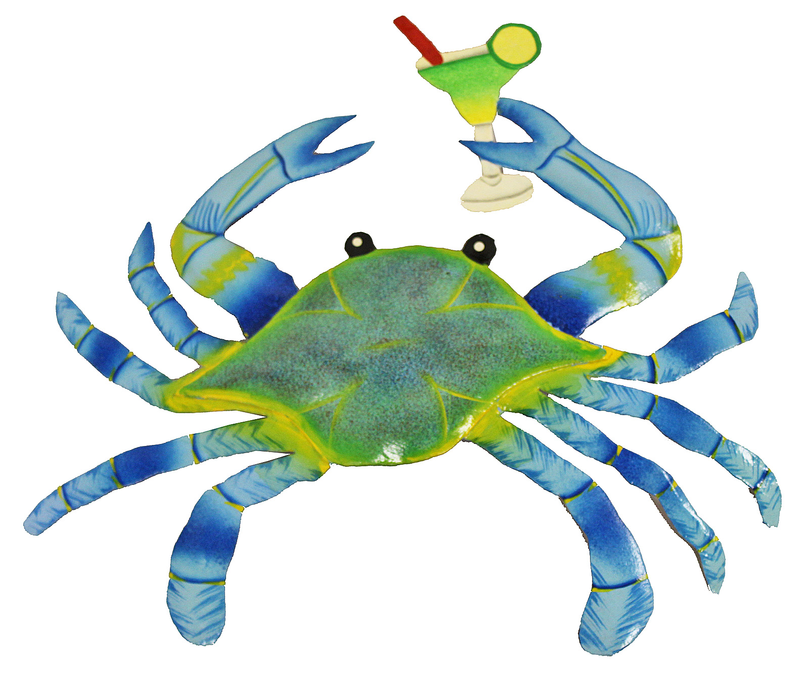 Maryland blue crab with margarita party time haitian metal art wall