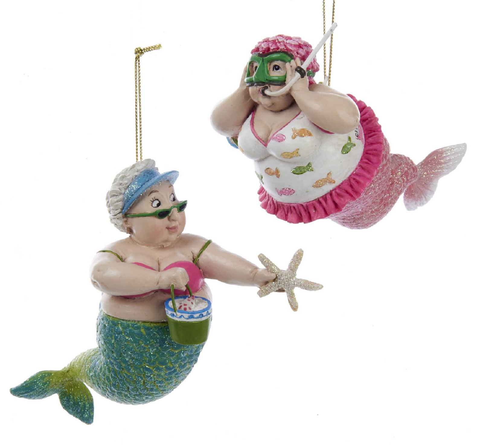 Mermaid beach girls having fun christmas holiday ornaments