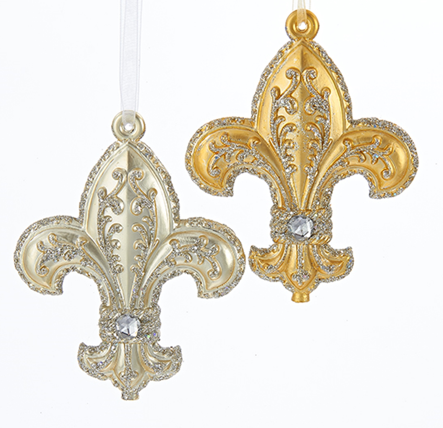 Fleur de lis gold and champagne jeweled christmas holiday