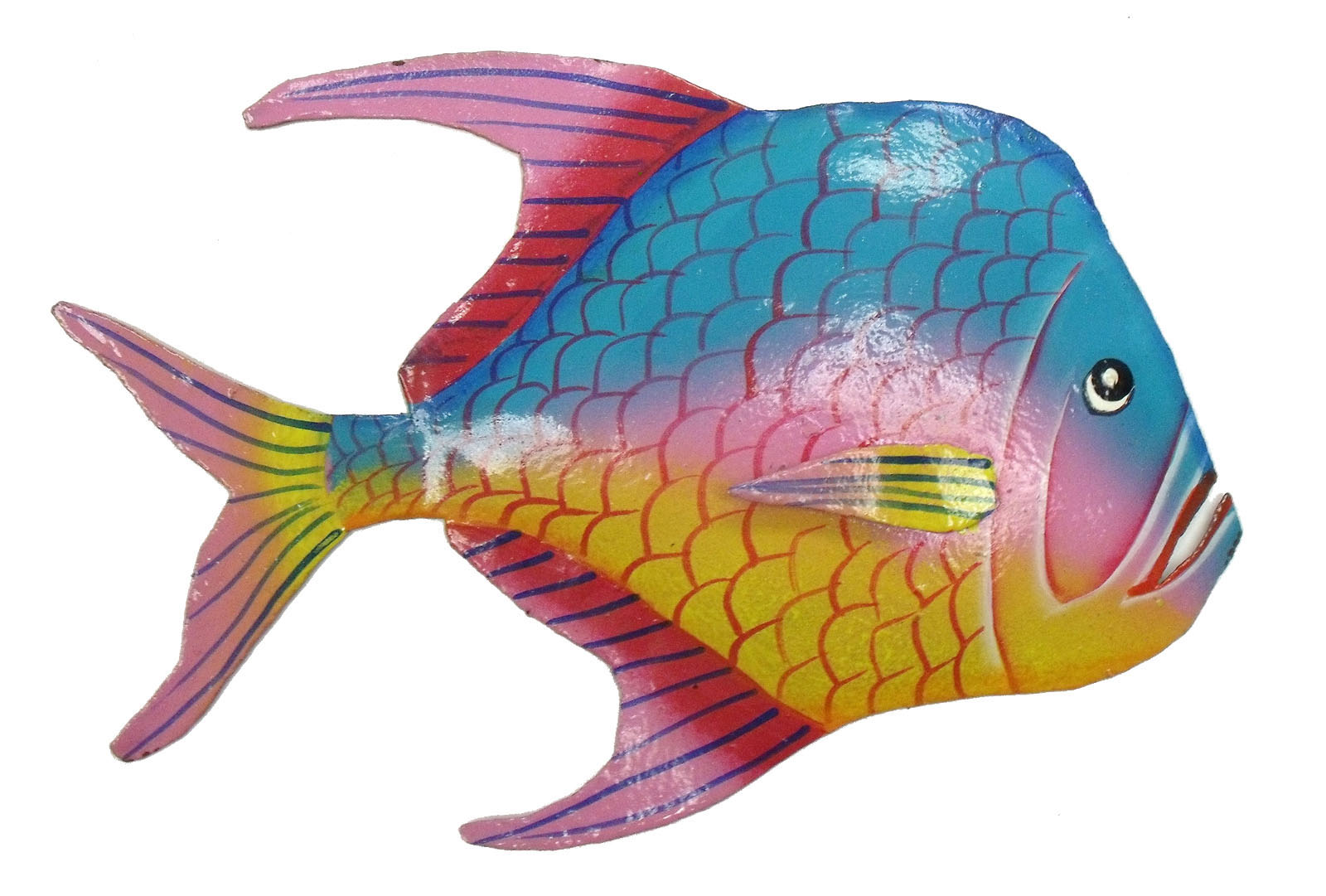 Wall Decor With Fish : Look down fuchsia fin tropical fish haitian metal wall art