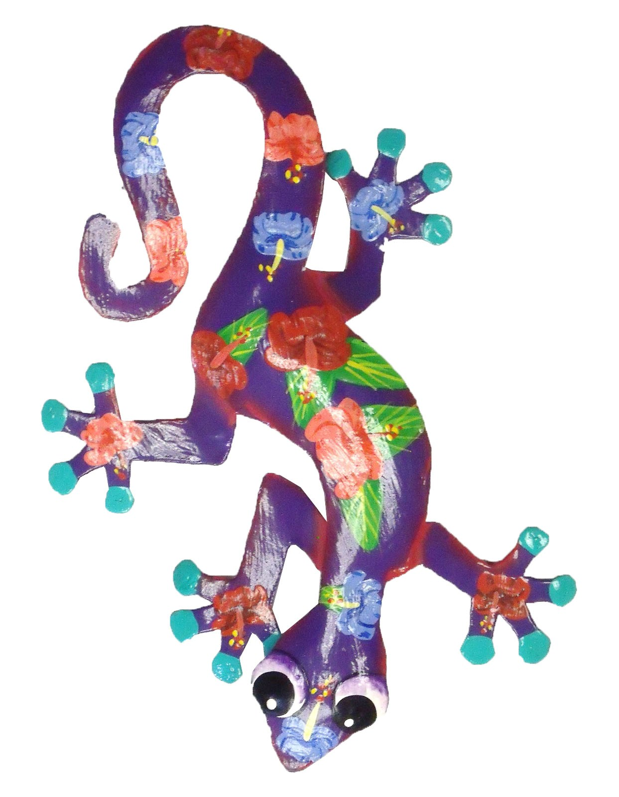 Tropical hibiscus gecko haitian metal wall decor purple ebay for Tropical metal wall art
