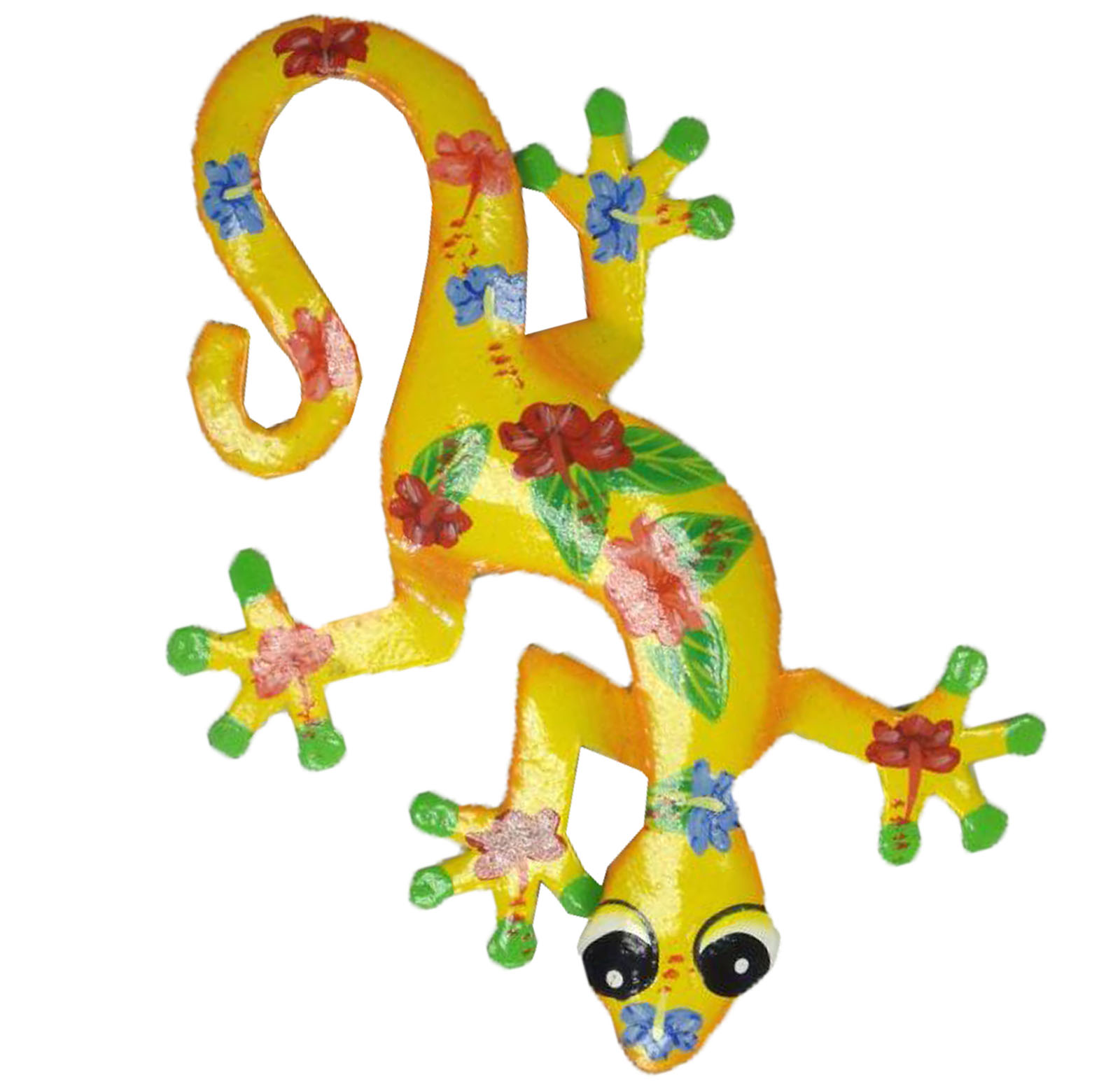 Tropical hibiscus yellow gecko haitian metal wall decor 8 for Gecko wall art