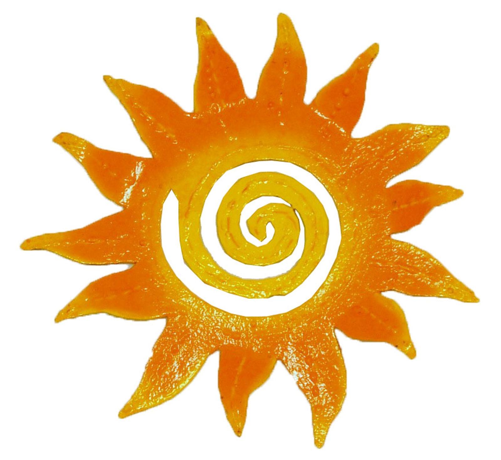 Yellow Sun Wall Decor : Hand crafted tropic sun rays haitian metal art yellow